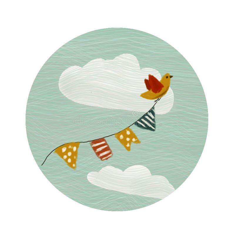 Rund färglogo med fågeln vektor illustrationer