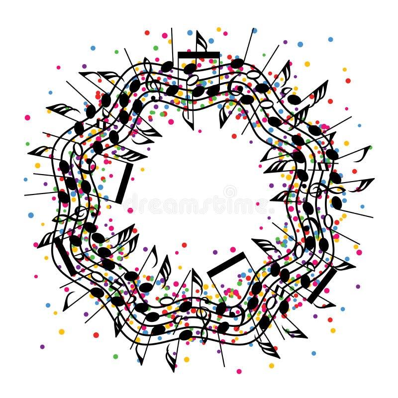 Rund färgrik bakgrund av musikanmärkningar royaltyfri illustrationer