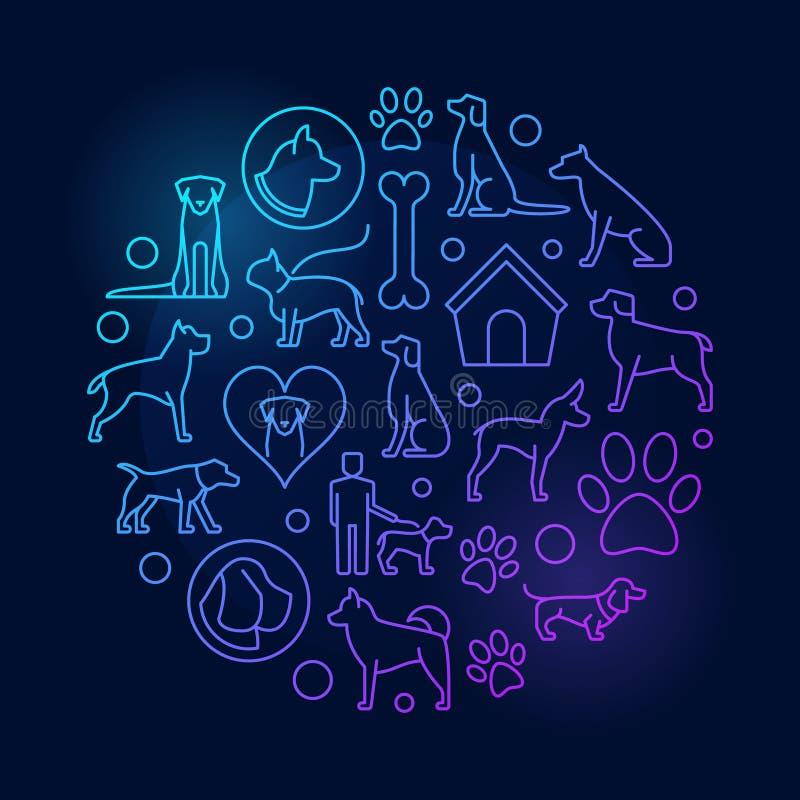 Rund färgrik illustration för hund vektor illustrationer