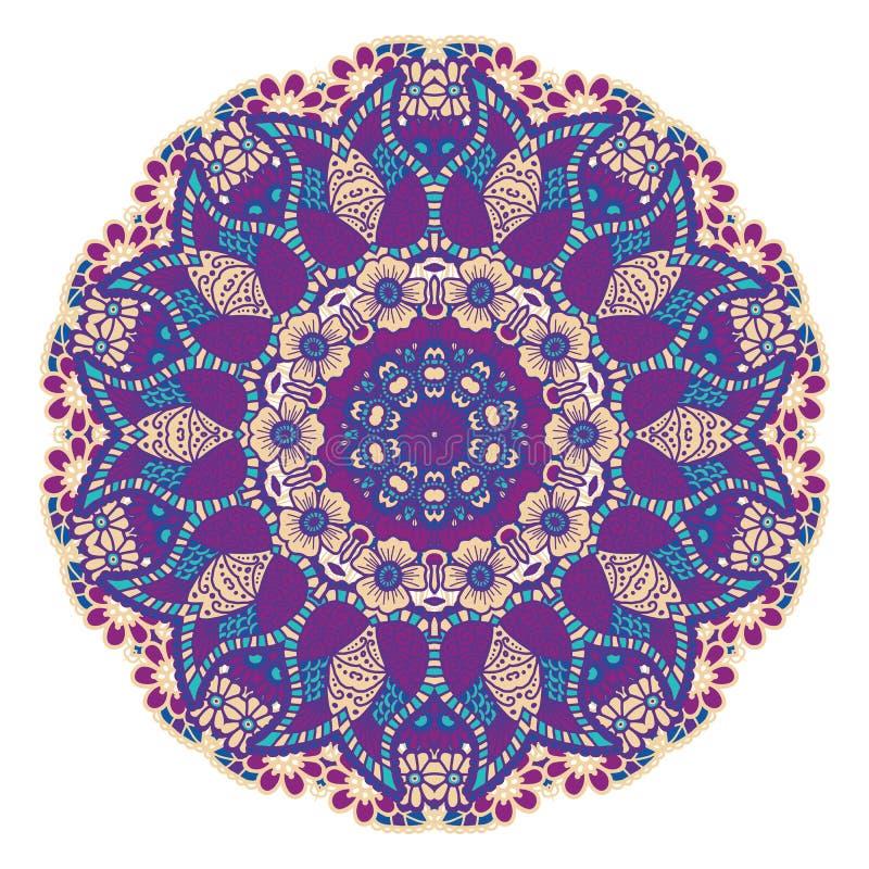 Rund färgrik mandala stock illustrationer