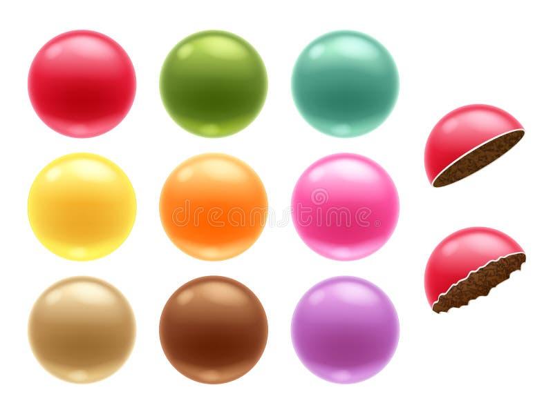 Rund färgrik uppsättning för chokladdrageegodisar vektor illustrationer