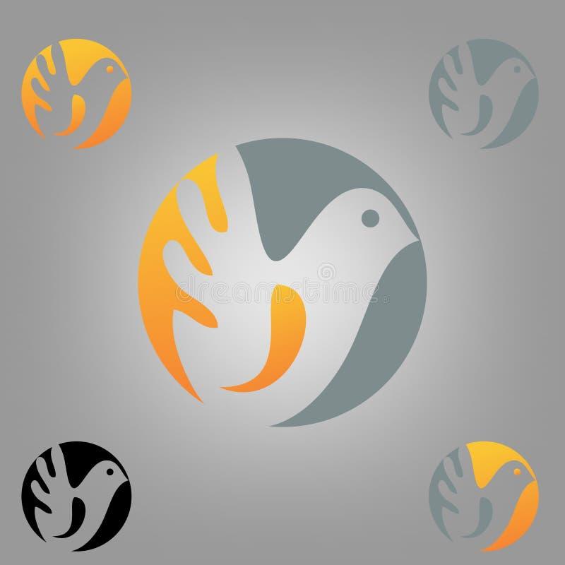 Rund fågellogo vektor illustrationer
