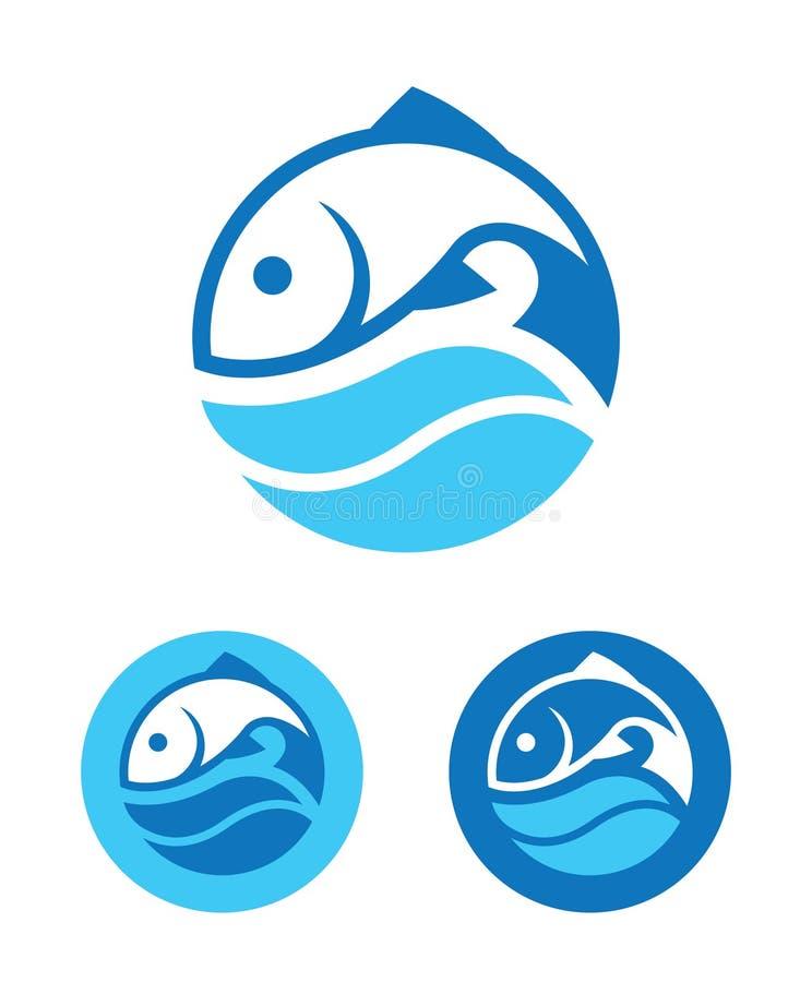 Rund fisksymbol royaltyfri illustrationer