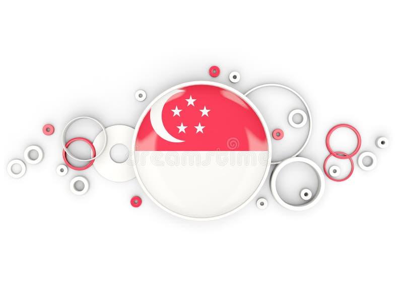 Rund flagga av singapore med cirkelmodellen vektor illustrationer