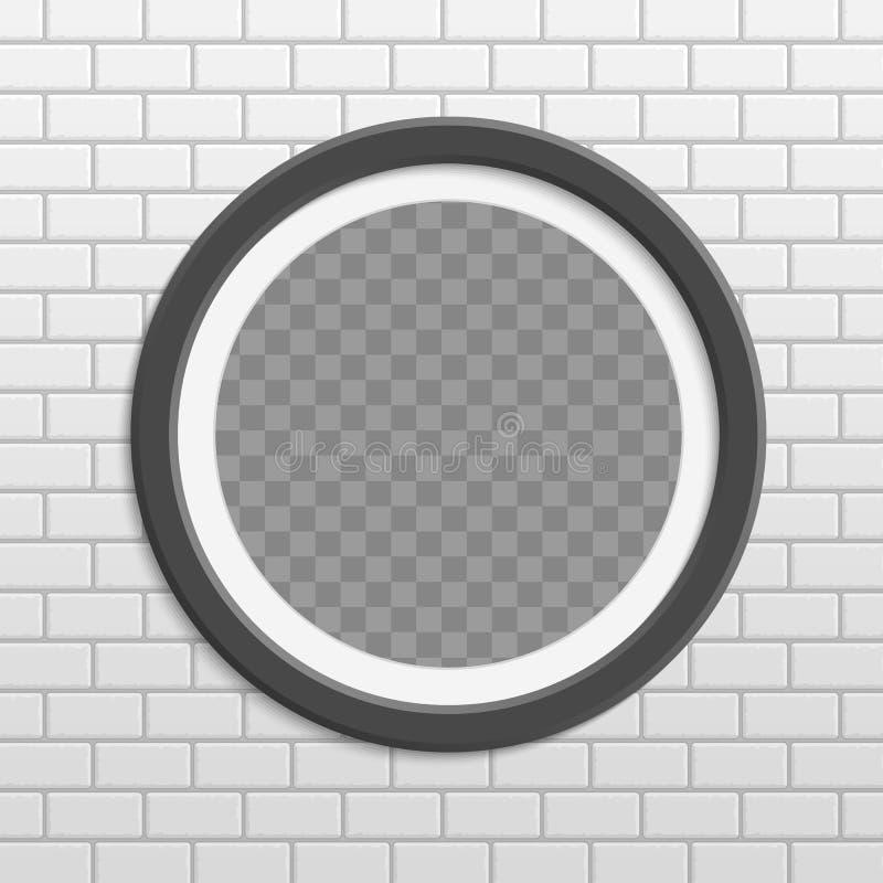 Rund fotoram på tegelstenväggen vektor illustrationer