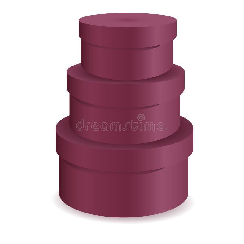 Rund gåvaask som är röd på isolerad vit bakgrund Ordna till för dig designen Produktemballagevektor EPS10 3d royaltyfri illustrationer