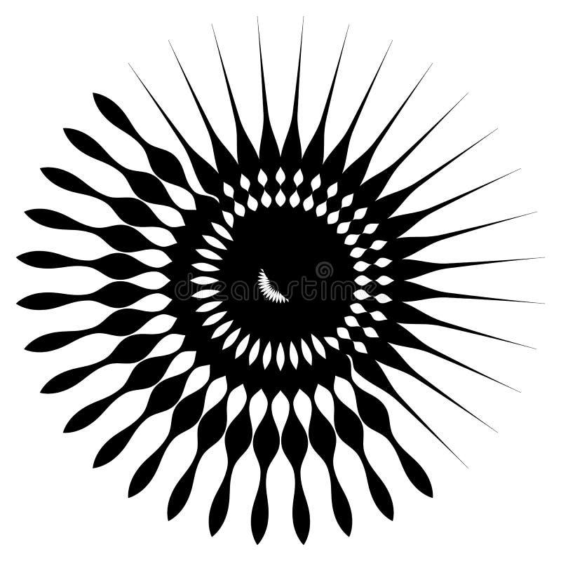 Rund geometrisk beståndsdel av radiell eker, linjer Abstrakt bla royaltyfri illustrationer