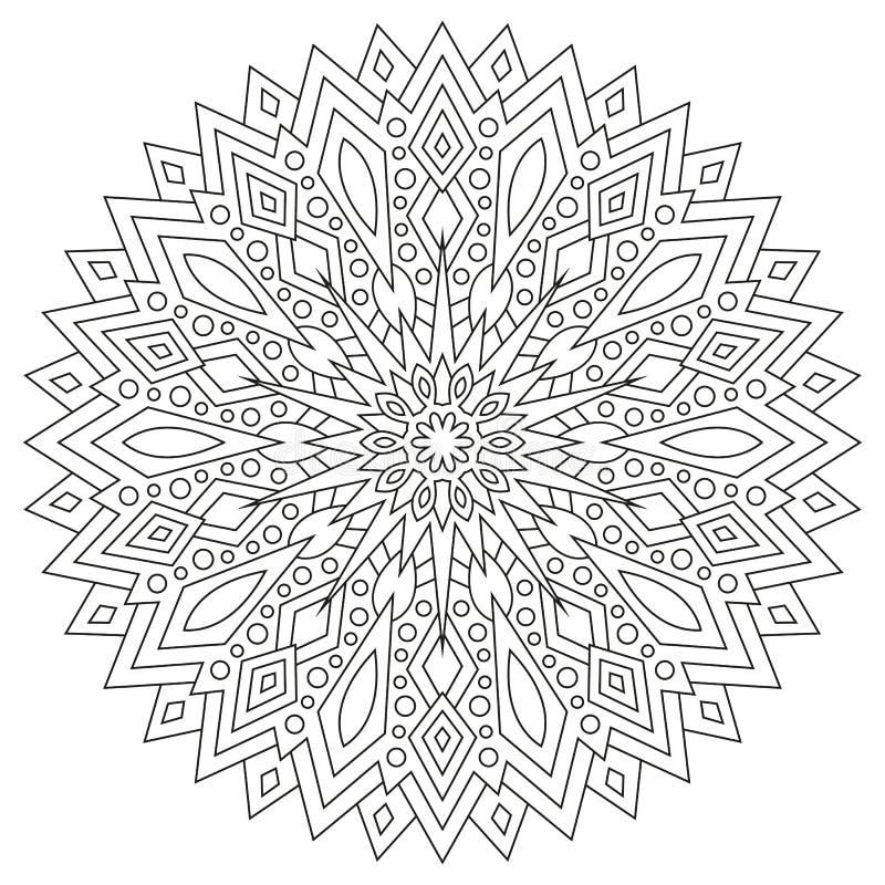 Rund geometrisk prydnad Rund översiktsMandala för sida för färgläggningbok vektor illustrationer