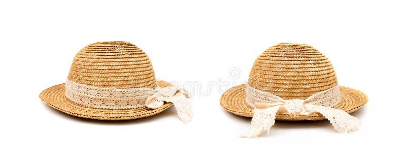 Rund-geströmter Hut oder spinnender Weidenhut lokalisiert auf weißem Hintergrund lizenzfreie stockfotos