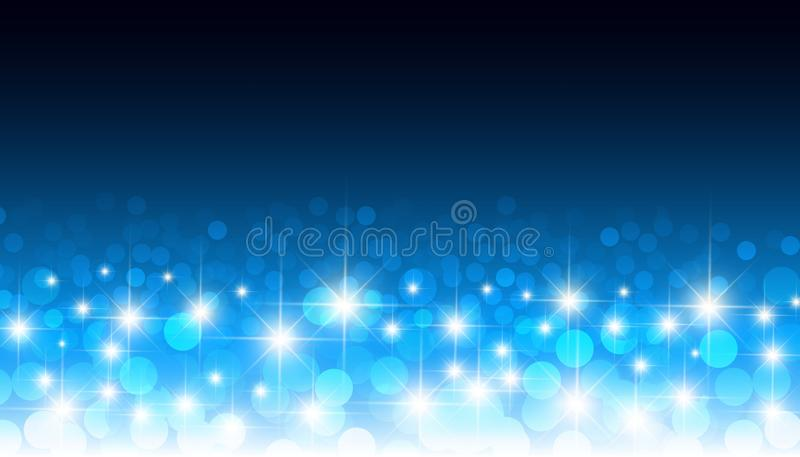 Rund glödande för bokehvektor för konfettier blå bakgrund Festlig modell för runda ljus för optisk lins suddiga stock illustrationer