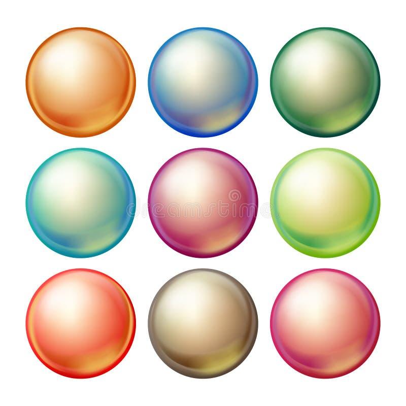Rund Glass sfärvektor Fastställda täckande mångfärgade sfärer med ilskna blickar, skuggor Isolerad realistisk illustration royaltyfri illustrationer