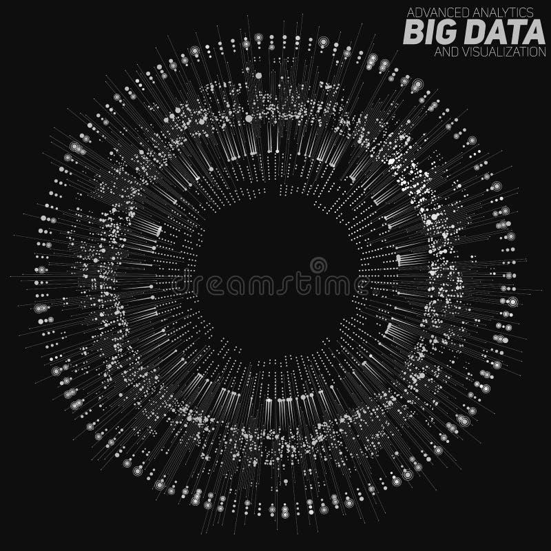 Rund gråtonvisualization för stora data Futuristiskt infographic Estetisk design för information Visuell datakomplexitet vektor illustrationer