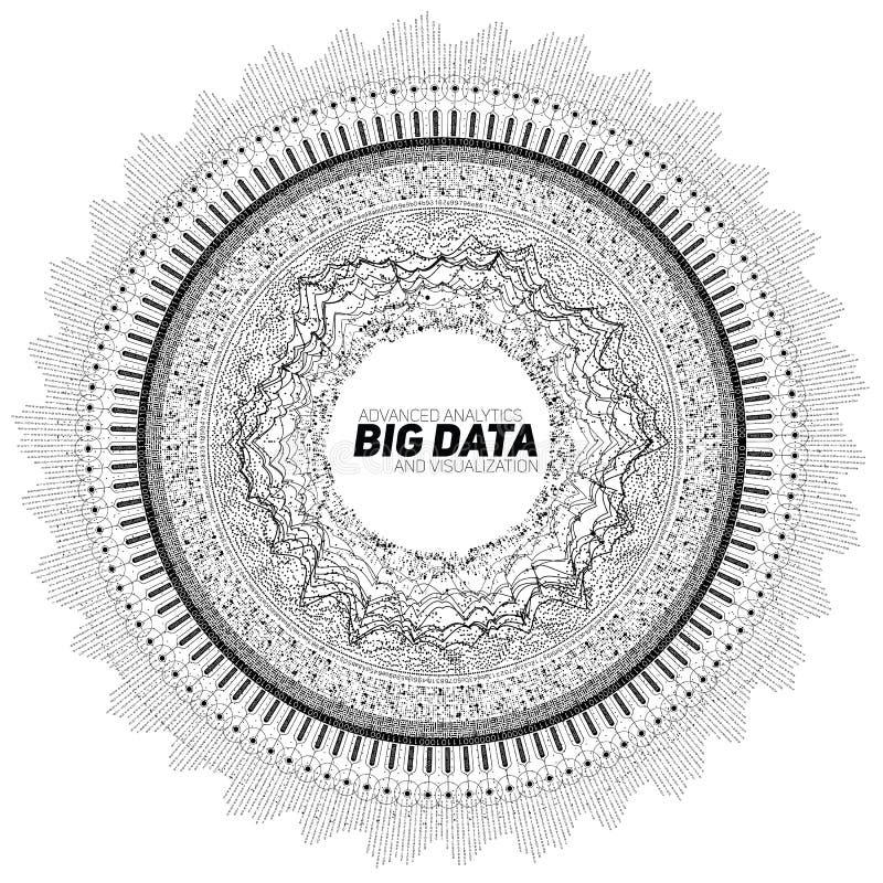 Rund gråtonvisualization för stora data Futuristiskt infographic Estetisk design för information Visuell datakomplexitet stock illustrationer