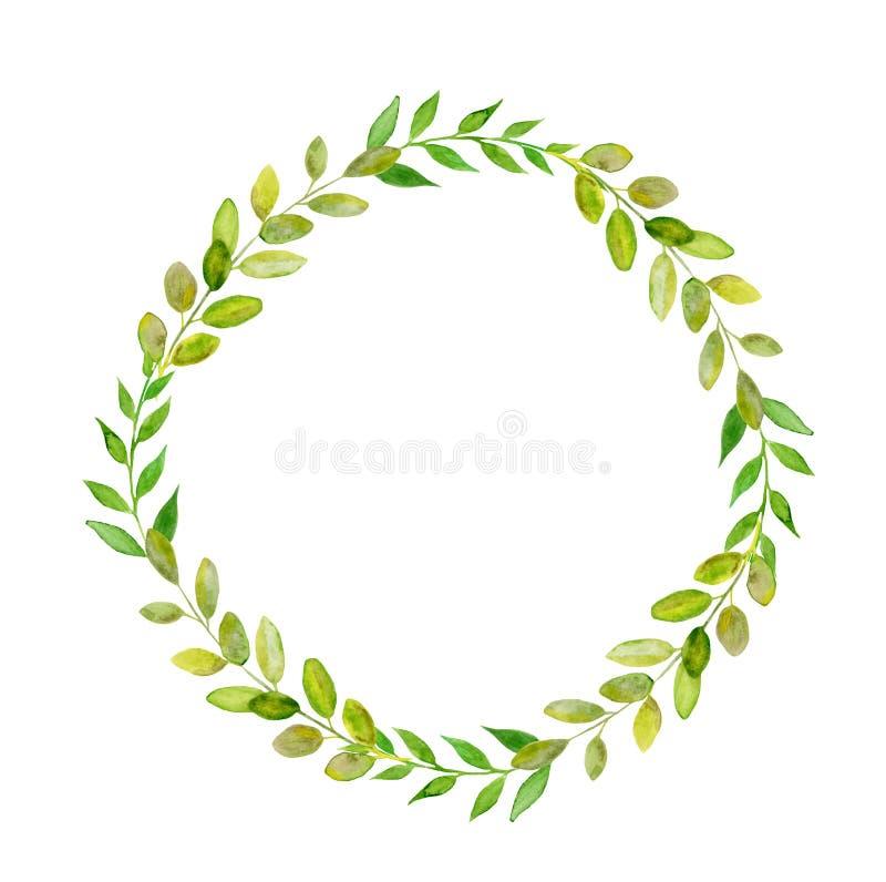 Rund grön bladkrans för Handpainted vattenfärg arkivbild