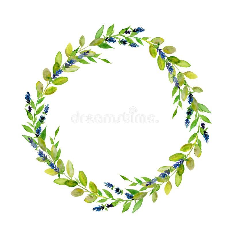 Rund grön bladkrans för Handpainted vattenfärg royaltyfria foton