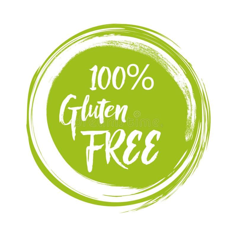 Rund grön etikett med text - fri gluten också vektor för coreldrawillustration royaltyfri illustrationer