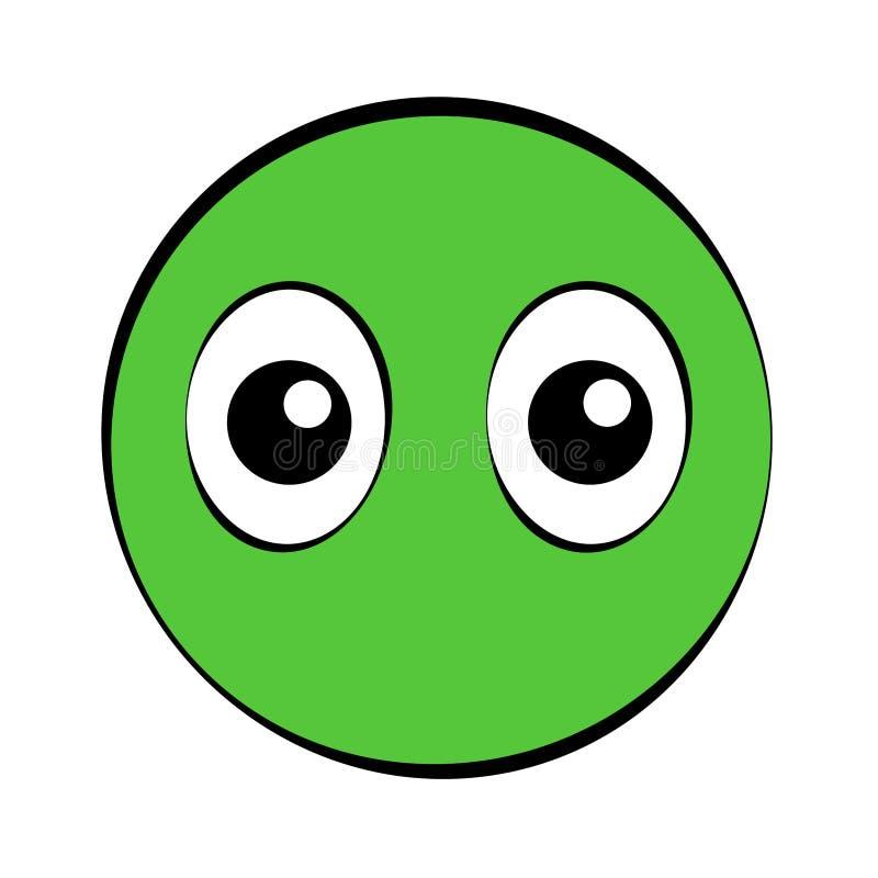 Rund grön komisk framsida med stora ögon vektor illustrationer