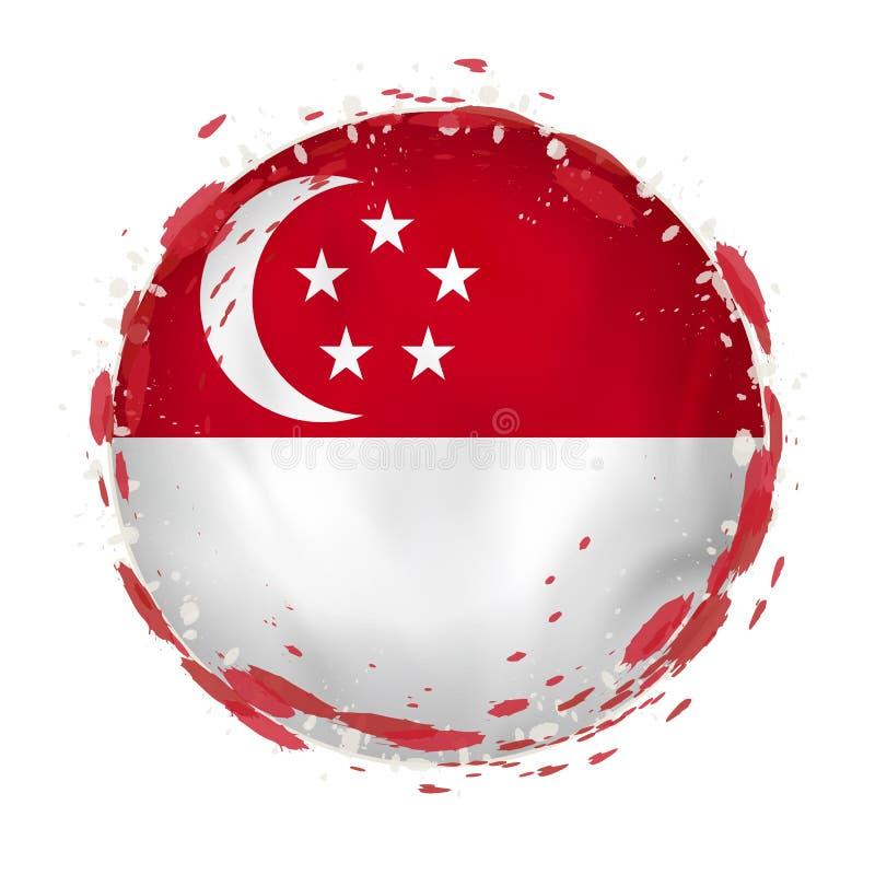 Rund grungeflagga av Singapore med färgstänk i flaggafärg stock illustrationer