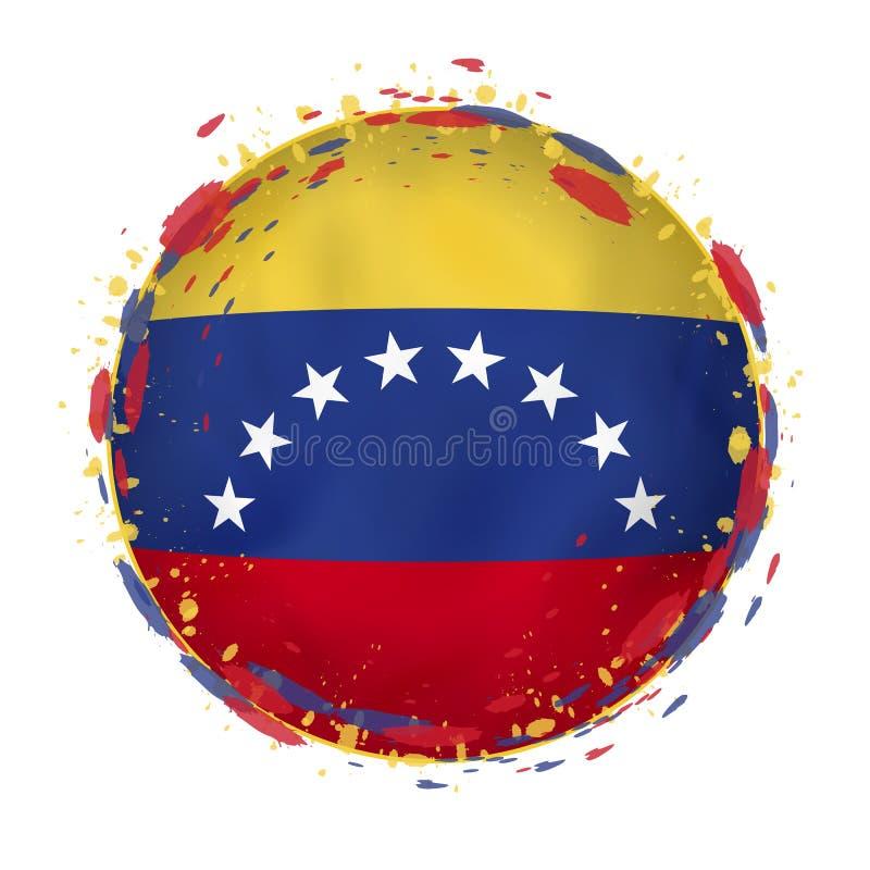 Rund grungeflagga av Venezuela med färgstänk i flaggafärg royaltyfri illustrationer