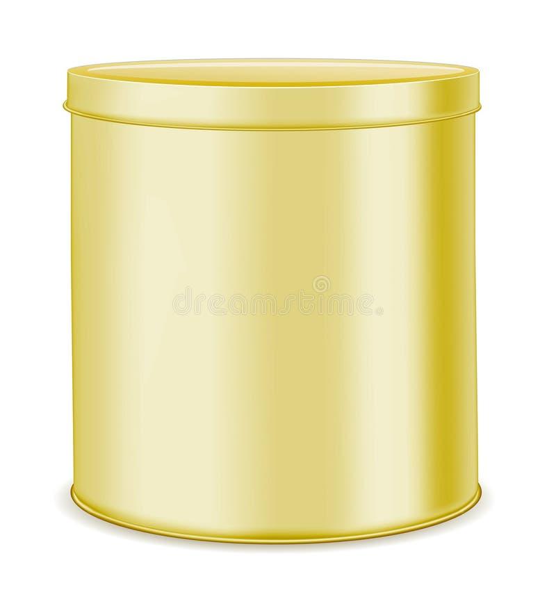 Rund guld- metall kan för mat, kakor och gåvor stock illustrationer