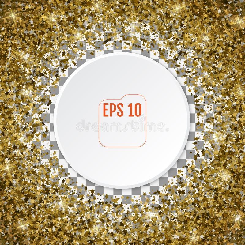 Rund guld- ram eller gräns av slumpmässiga guld- stjärnor för scatter 3d på stock illustrationer
