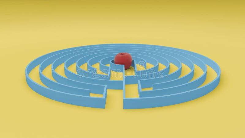Rund guling- och blåttlabyrintlabyrint spelar med tillträdeet, och utgången, finner banan till äpplebegreppet, idé för förälskels royaltyfri illustrationer