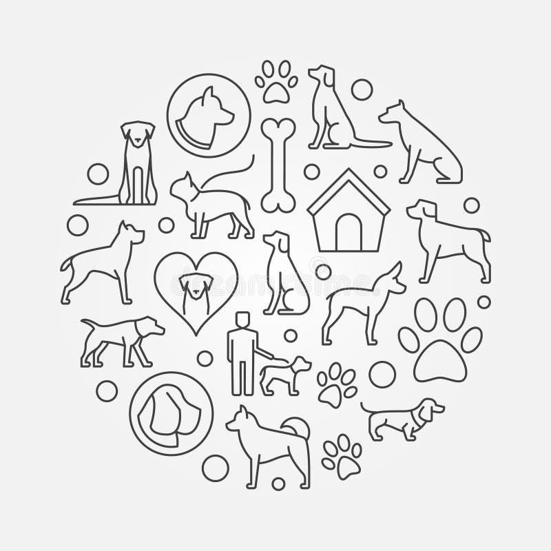 Rund illustration för hund stock illustrationer