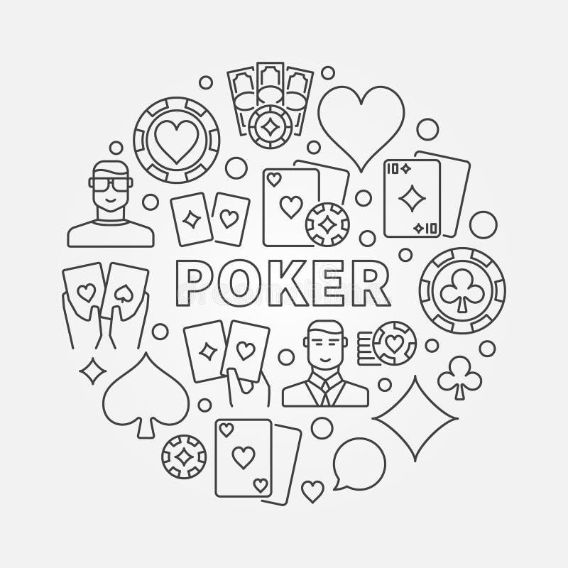 Rund illustration för poker stock illustrationer