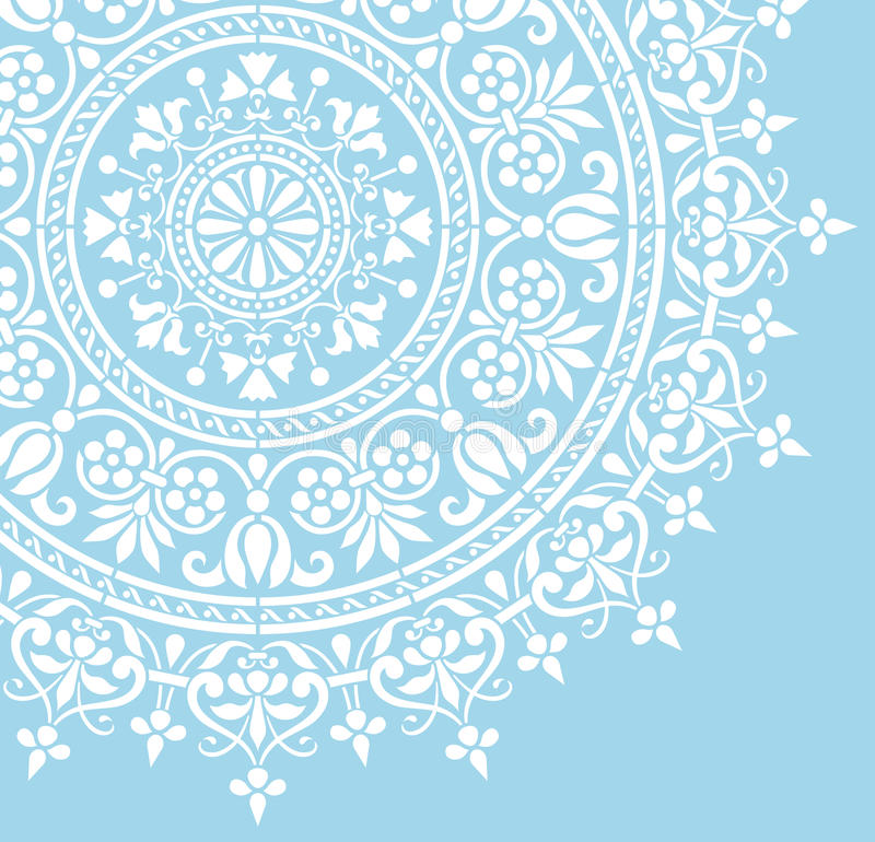 Rund indisk vit blom- modell royaltyfri illustrationer
