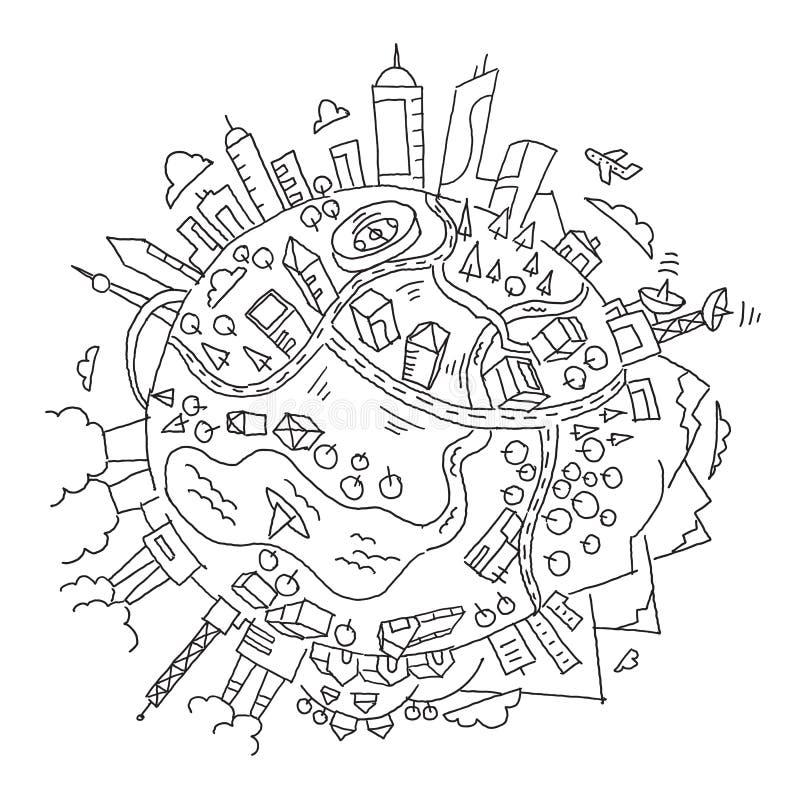 Rund jord för illustrationvärldsplanet Staden, bergen fabrikerna och byggnader hand dragit vektormateriel stock illustrationer
