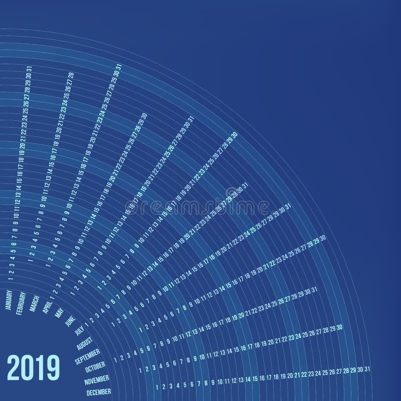 Rund kalender 2019 år Minsta datumaffisch vektor illustrationer