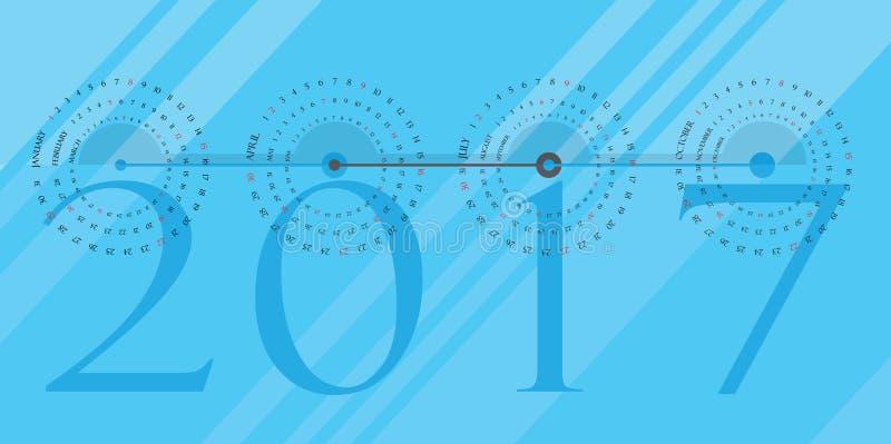 Rund kalender 2017 arkivfoto
