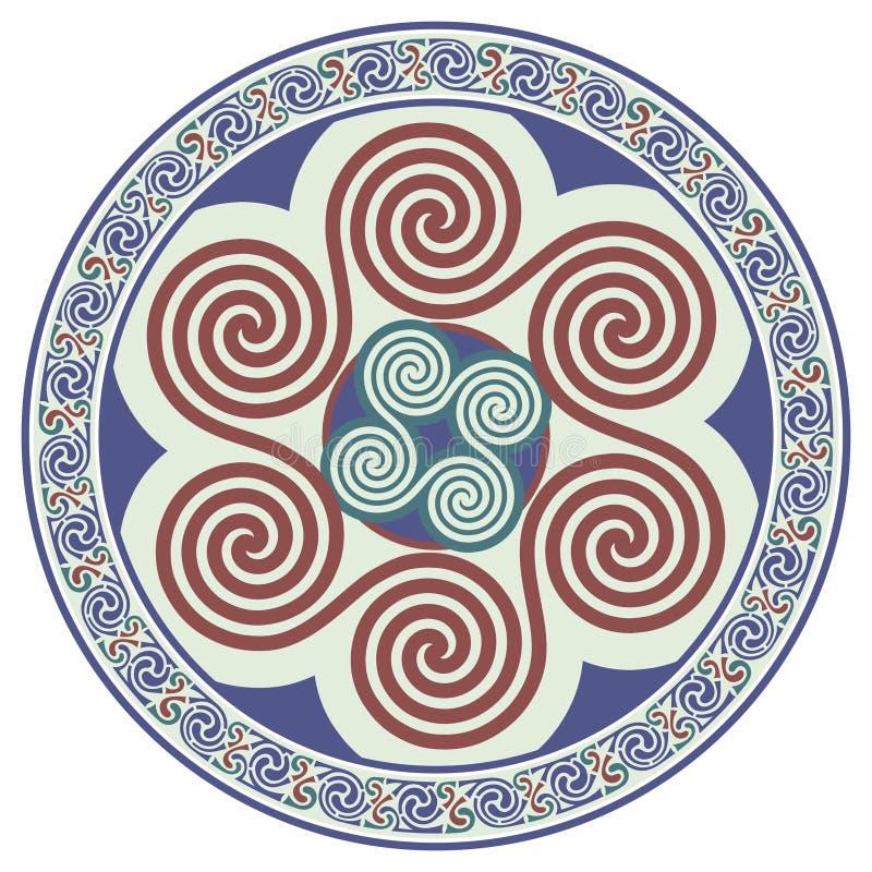 Rund keltisk design Keltisk Mandala stock illustrationer