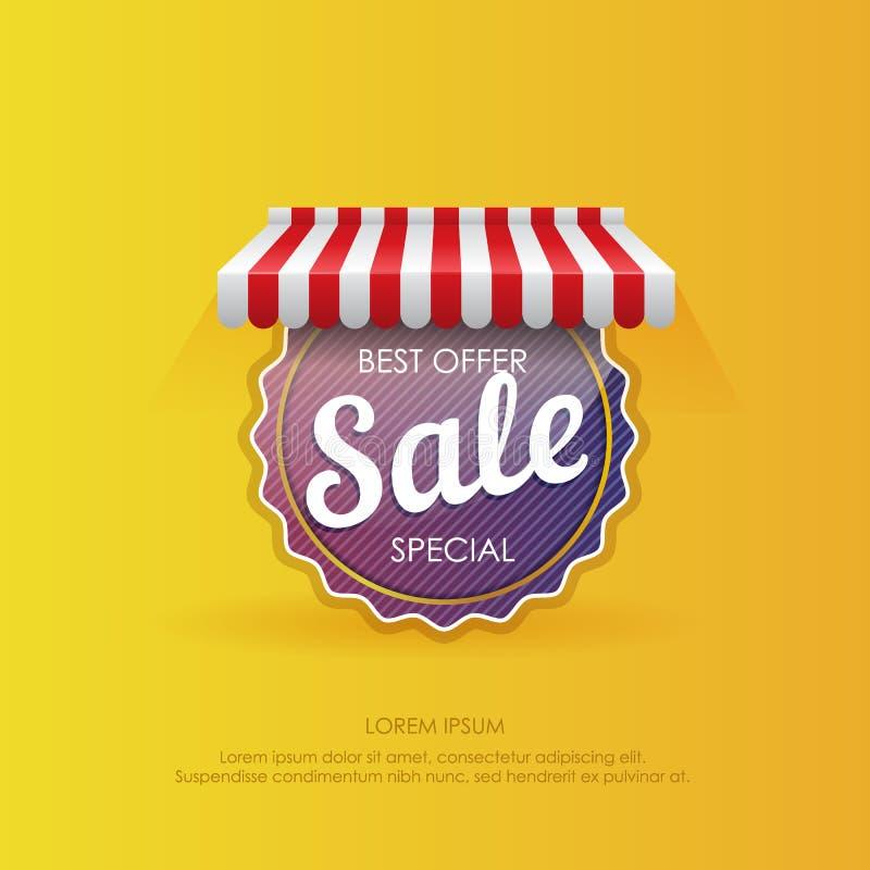 Rund klistermärke med det bästa erbjudandet för försäljning vektor illustrationer