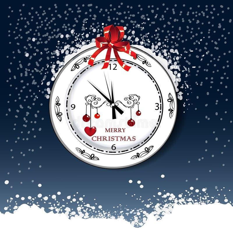 Rund klocka med hälsning för juldag vektor illustrationer