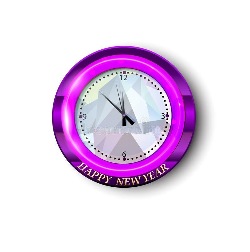 Rund klocka med hälsning för nytt år royaltyfri illustrationer