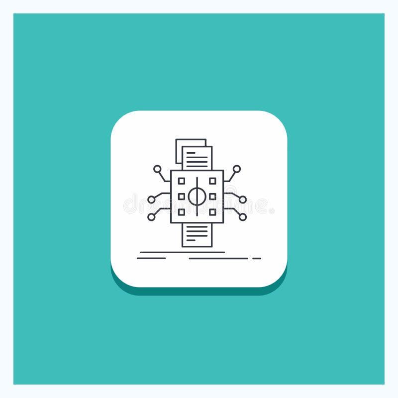 Rund knapp för analys, data, utgångspunkt och att bearbeta och att anmäla linjen symbolsturkosbakgrund vektor illustrationer