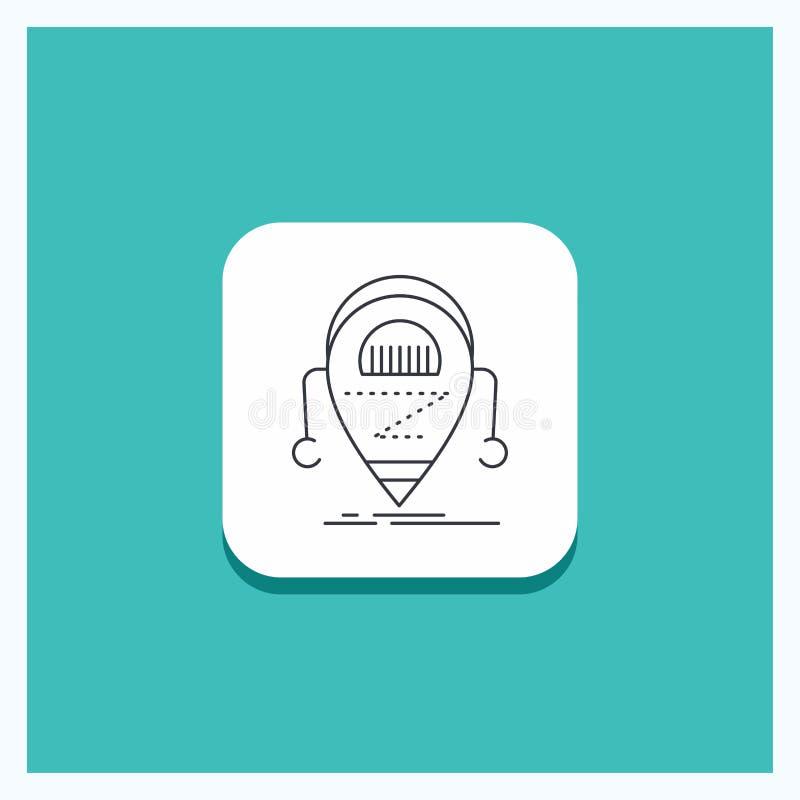 Rund knapp för Android, beta, droid, robot, teknologilinje symbolsturkosbakgrund vektor illustrationer