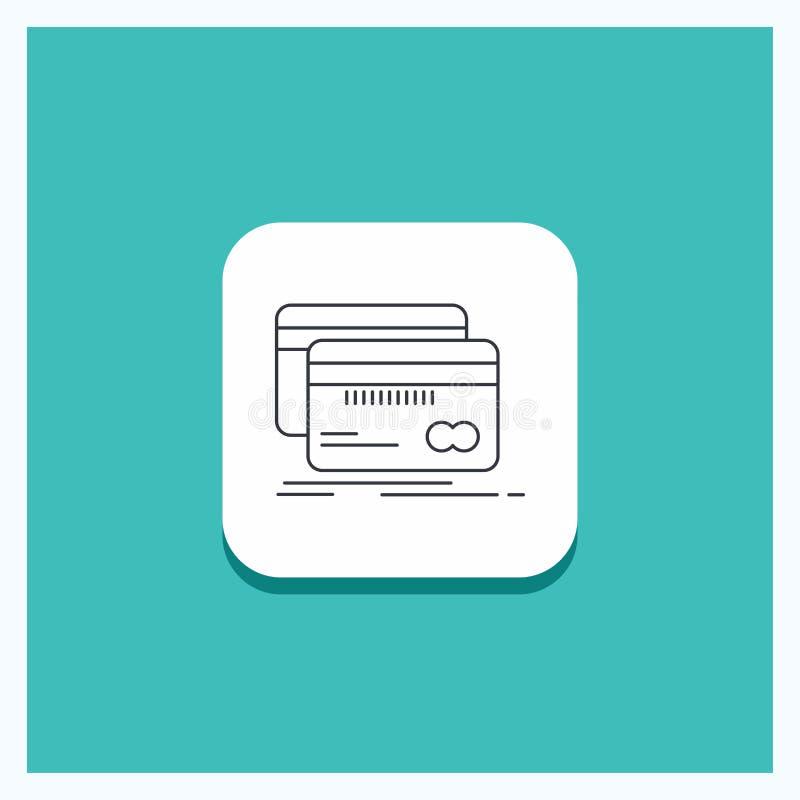 Rund knapp för att packa ihop, kort, kreditering, debitering, finanslinje symbolsturkosbakgrund royaltyfri illustrationer