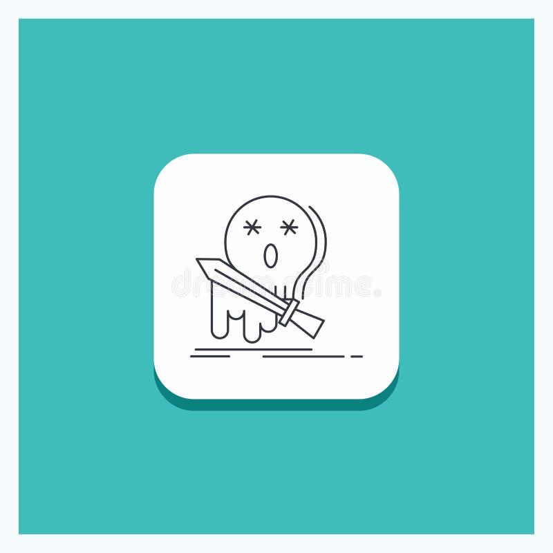 Rund knapp för död, frag, lek, byte, svärdlinje symbolsturkosbakgrund vektor illustrationer