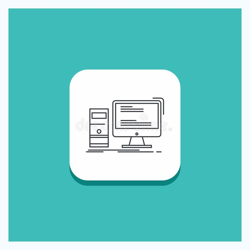 Rund knapp för datoren, skrivbord, dobbel, PC, personlig linje symbolsturkosbakgrund vektor illustrationer