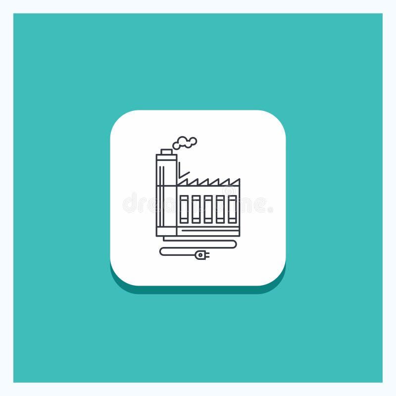 Rund knapp för förbrukning, resurs, energi, fabrik, tillverkande linje symbolsturkosbakgrund stock illustrationer