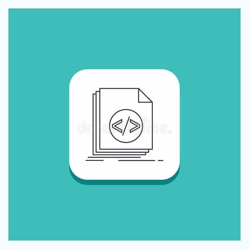 Rund knapp för kod som kodifierar, mapp som programmerar, skriftlinje symbolsturkosbakgrund royaltyfri illustrationer
