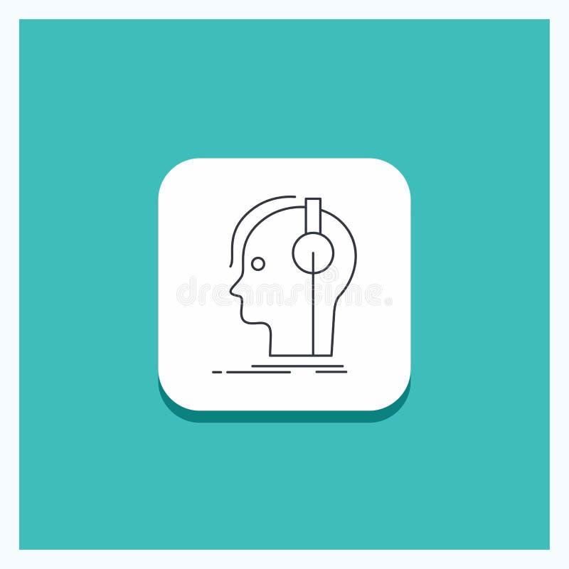 Rund knapp för kompositören, hörlurar, musiker, producent, solid linje symbolsturkosbakgrund vektor illustrationer