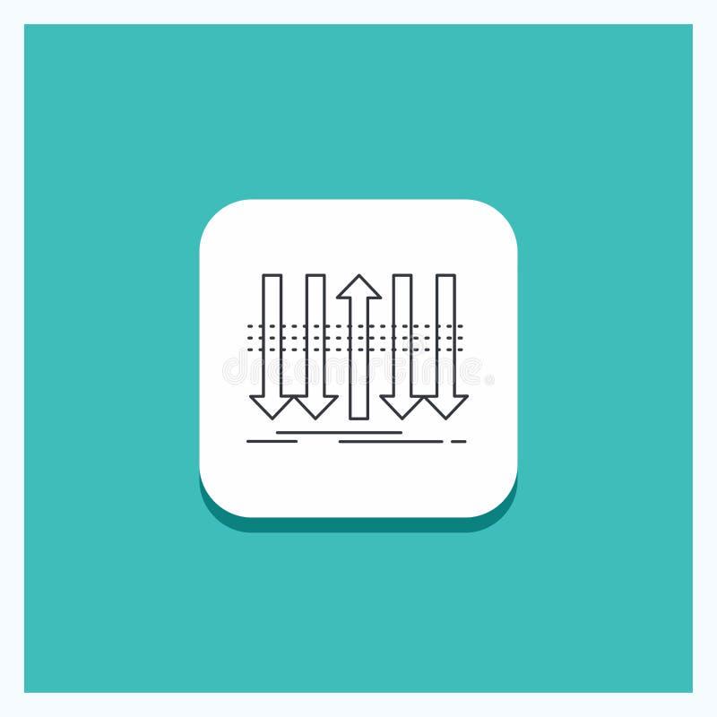 Rund knapp för pilen, affär, skillnad som är framåt, egenartlinje symbolsturkosbakgrund vektor illustrationer