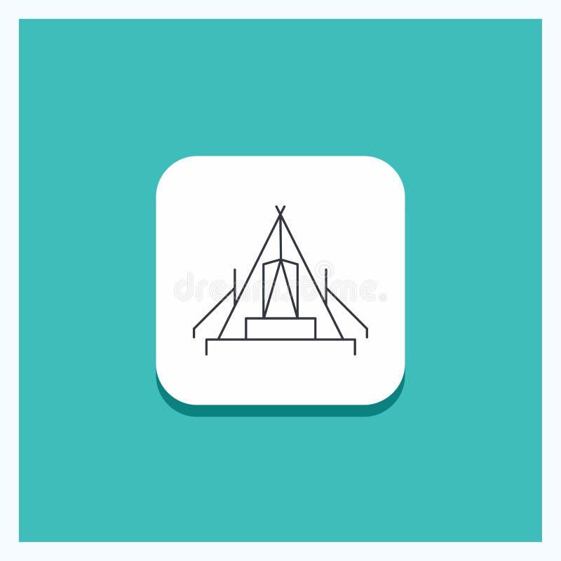 Rund knapp för tält som campar, läger, campingplats, utomhus- linje symbolsturkosbakgrund stock illustrationer