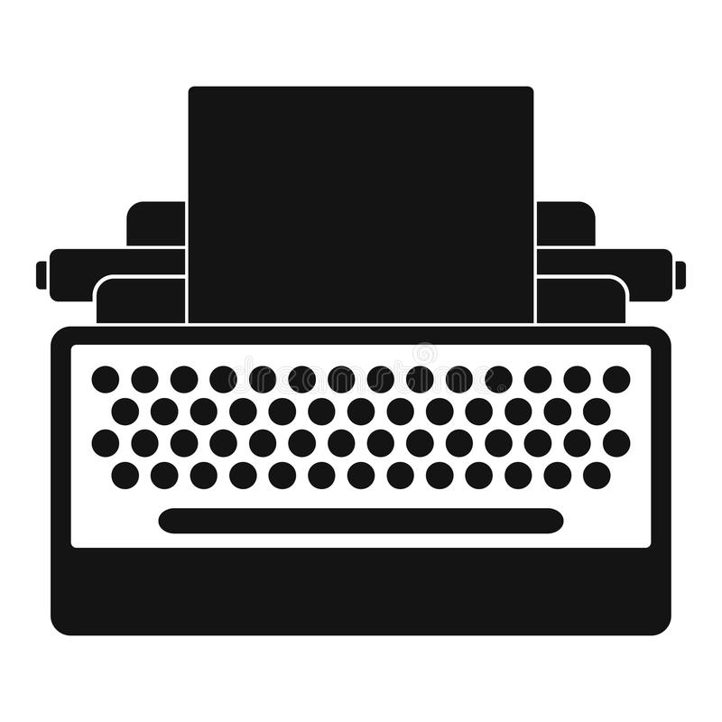 Rund knappskrivmaskinssymbol, enkel stil stock illustrationer