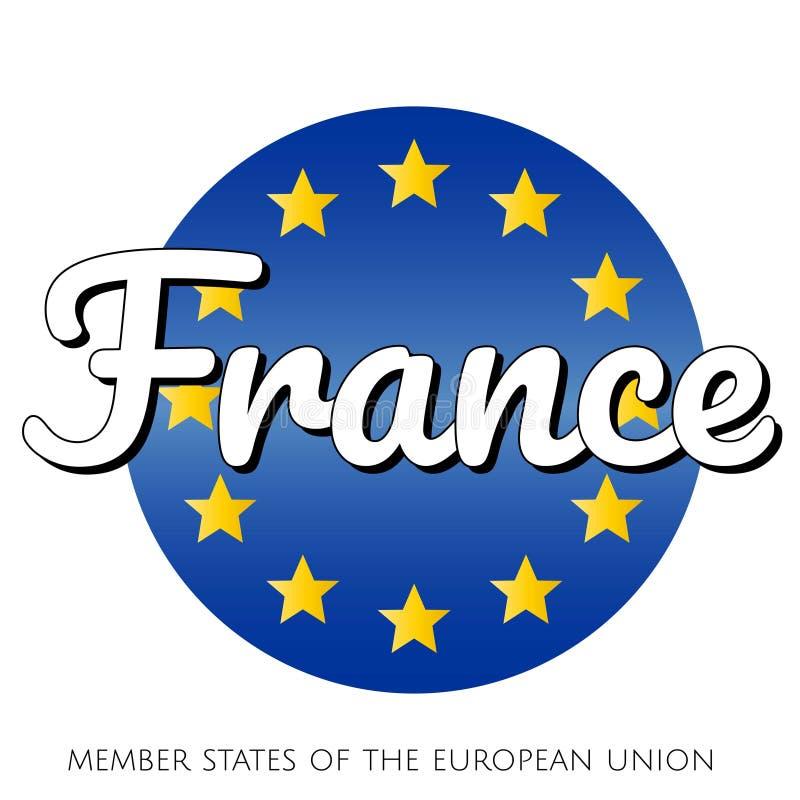 Rund knappsymbol av nationsflaggan av den europeiska unionen med bl? lutningbakgrund och gula och guld- stj?rnor och stock illustrationer