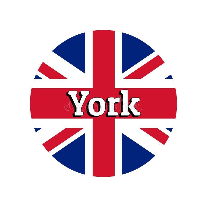 Rund knappsymbol av nationsflaggan av Förenade kungariket av Storbritannien Union Jack på den vita bakgrunden med bokstäver royaltyfri illustrationer