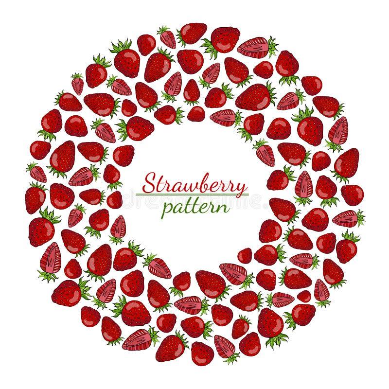 Rund krans av röda jordgubbar som isoleras på vit bakgrund vektor illustrationer
